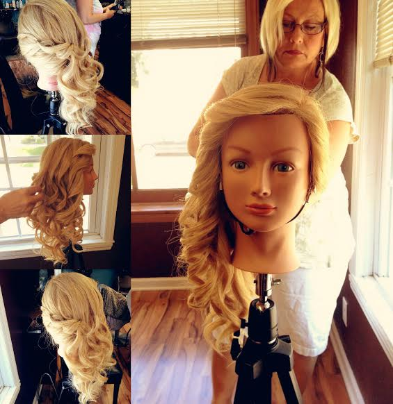 """""""Zee Wig Styling Collage"""" Picture of Zee styling a wig for one of her clients for an upcoming wedding."""